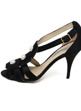 Oscar De La Renta Black Satin Pearl Shoes 2