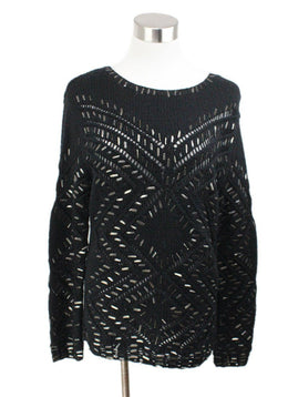 Oscar de la Renta Black Cashmere Knit Sweater with Metal Details 1