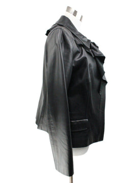 Oscar De La Renta Black Leather Ruffle Jacket 2