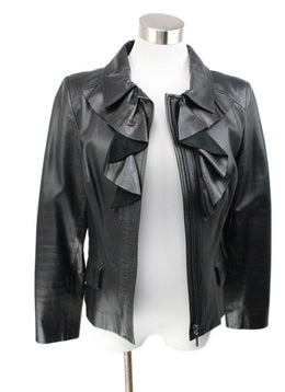 Oscar De La Renta Black Leather Ruffle Jacket 1