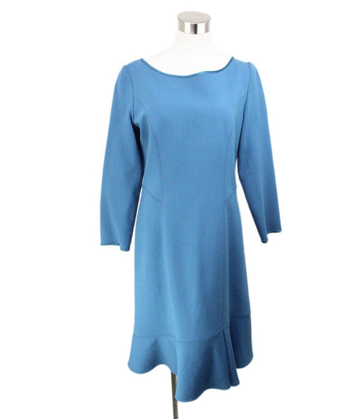 Alberta Ferretti Blue Teal Wool Dress Size 8