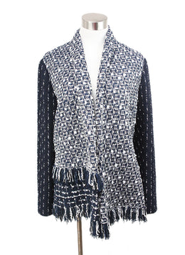 Oscar de la Renta Blue White Tweed Jacket 1