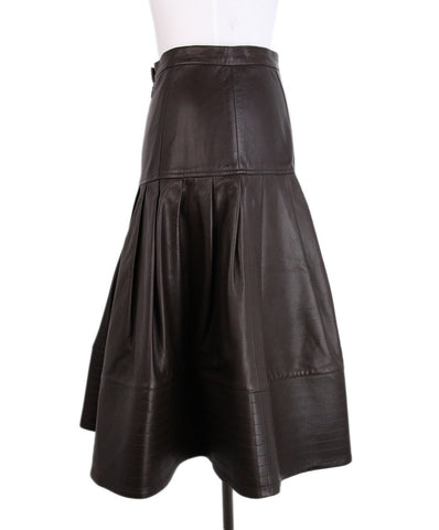 Oscar de la Renta Brown Leather Skirt 1