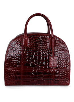 "Oscar De La Renta ""Audley Bag"" Red Alligator Handbag 1"
