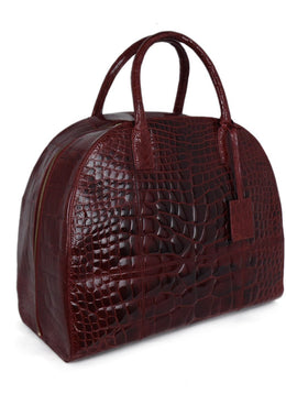"Oscar De La Renta ""Audley Bag"" Red Alligator Handbag 2"