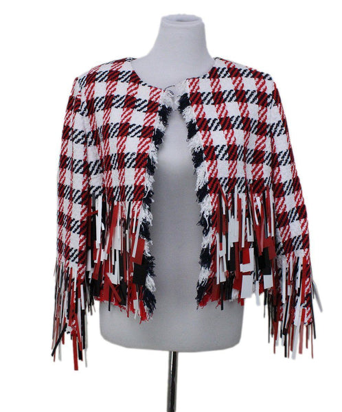 Oscar De La Renta White Red Blue Cotton Sequins Jacket
