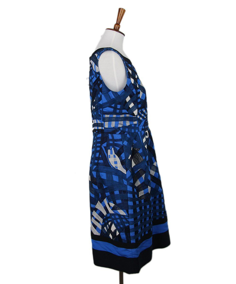 Oscar de la Renta black blue silk white 2