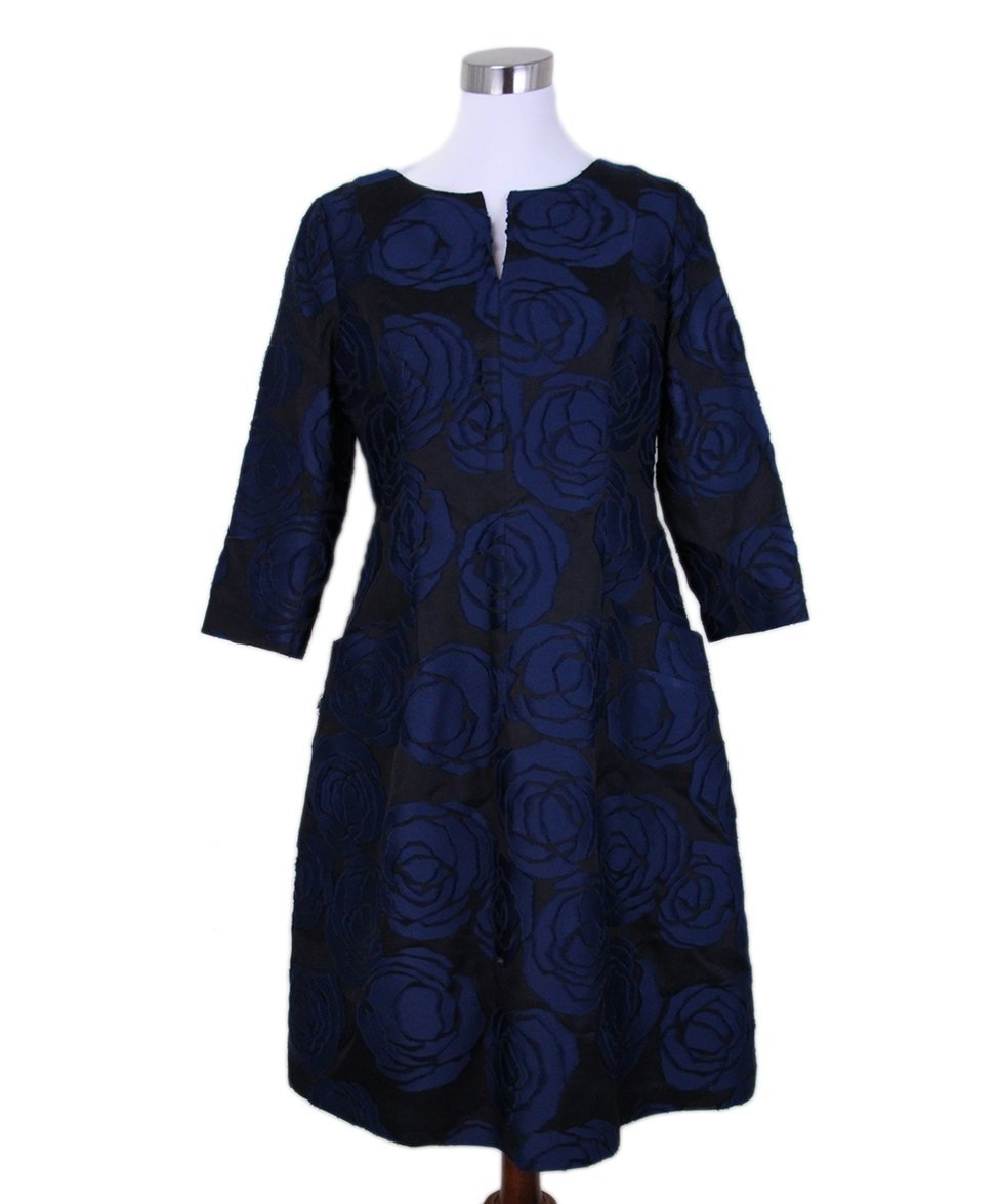 Oscar de la Renta black navy floral silk dress 1