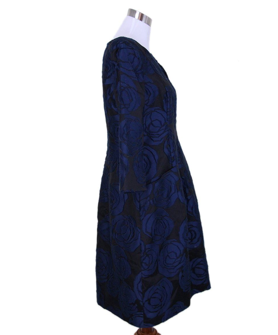 Oscar de la Renta black navy floral silk dress 2