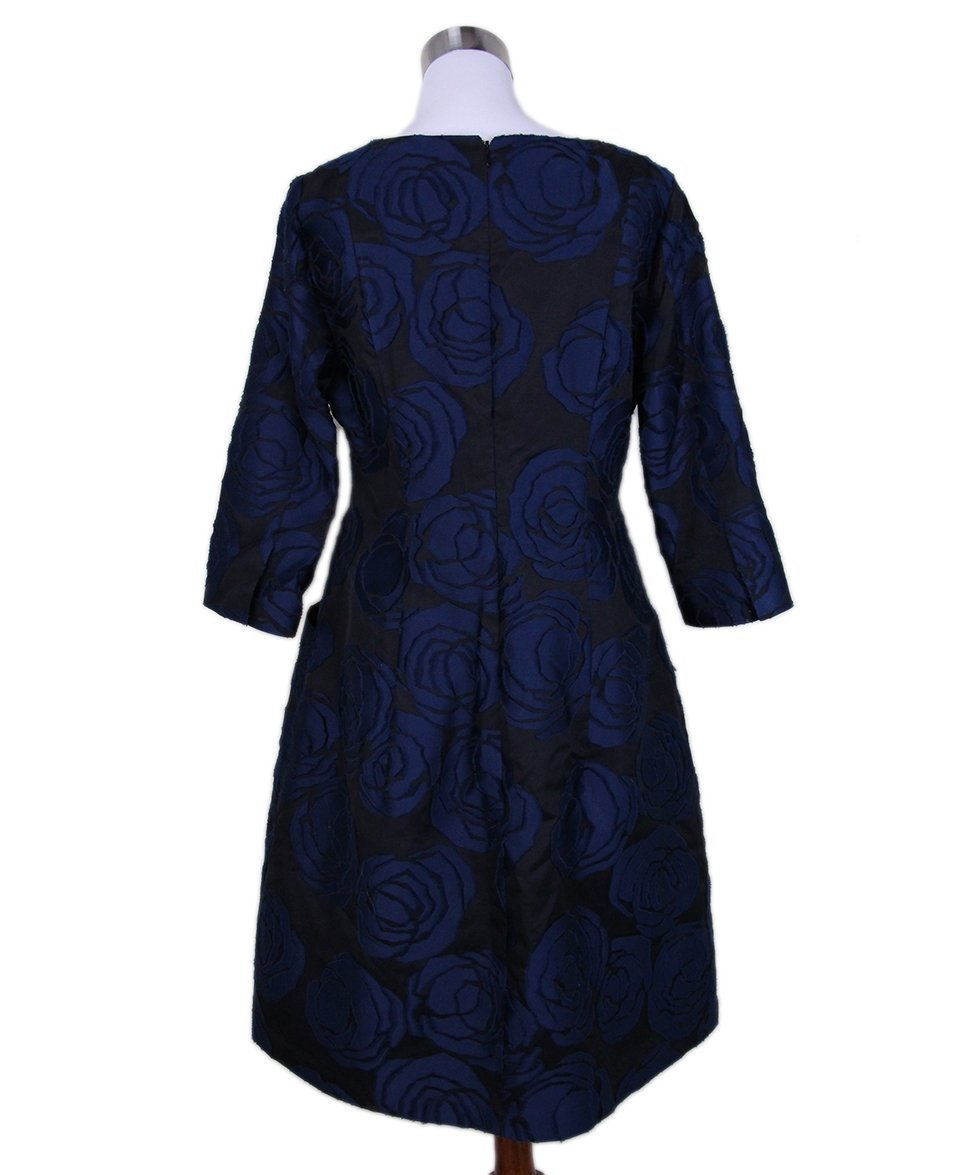 Oscar de la Renta black navy floral silk dress 3