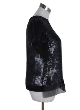 Oscar De La Renta Black Navy Sequins Tulle Top 2