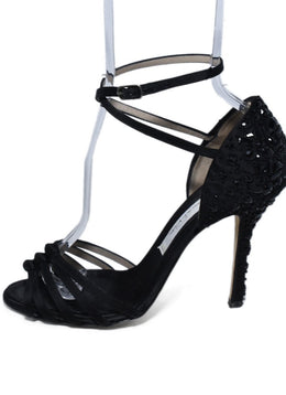 Oscar De La Renta Black Satin Beaded Heels 2
