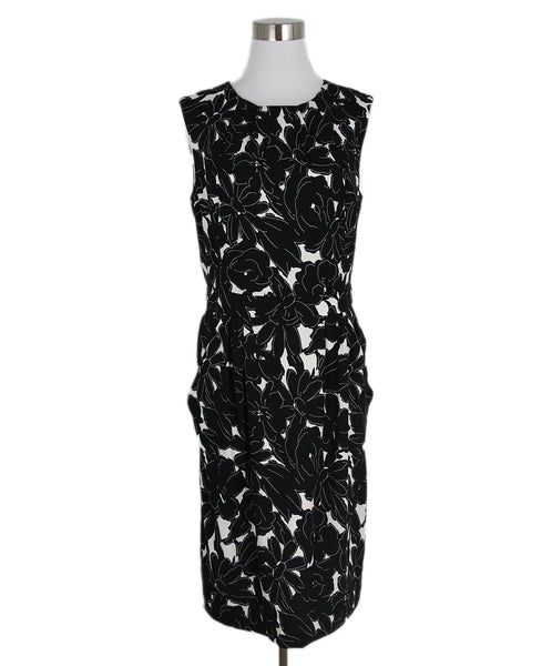 Oscar De La Renta Black White Silk Dress 1