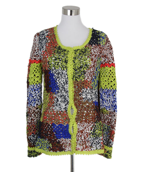 Oscar de la Renta blue lime red cardigan 1