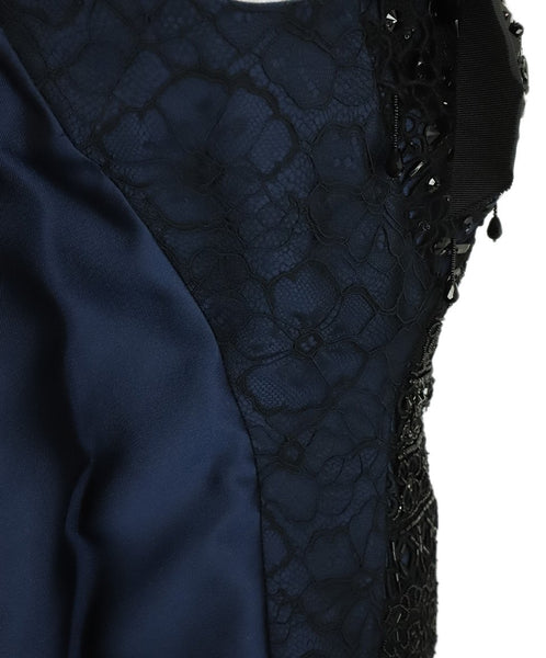 Oscar De La Renta Blue Navy Silk Black Beaded Evening Dress 6