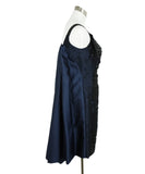 Oscar De La Renta Blue Navy Silk Black Beaded Evening Dress 2