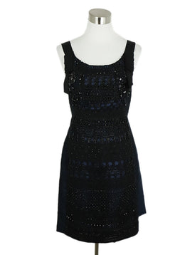 Oscar De La Renta Blue Navy Silk Black Beaded Evening Dress 1
