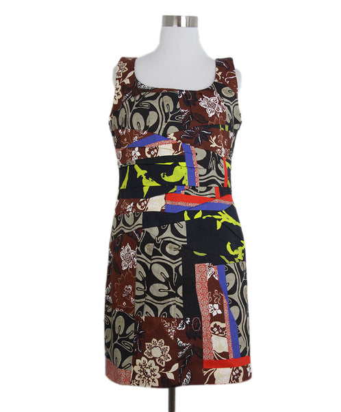 Oscar de la Renta brown yellow multi dress 1