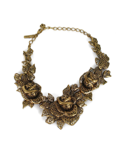 Oscar de la Renta gold metal floral necklace 1