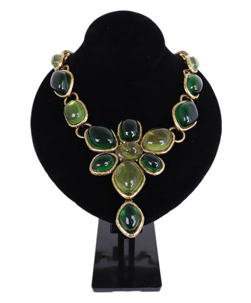 Oscar De La Renta Gold Metal Green Gripoix Necklace 1