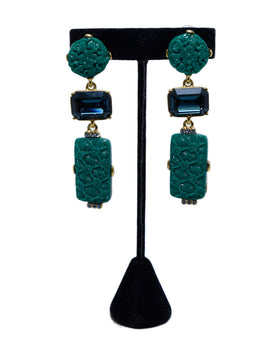 Oscar De La Renta Green Stone Statement Earrings | Oscar De La Renta