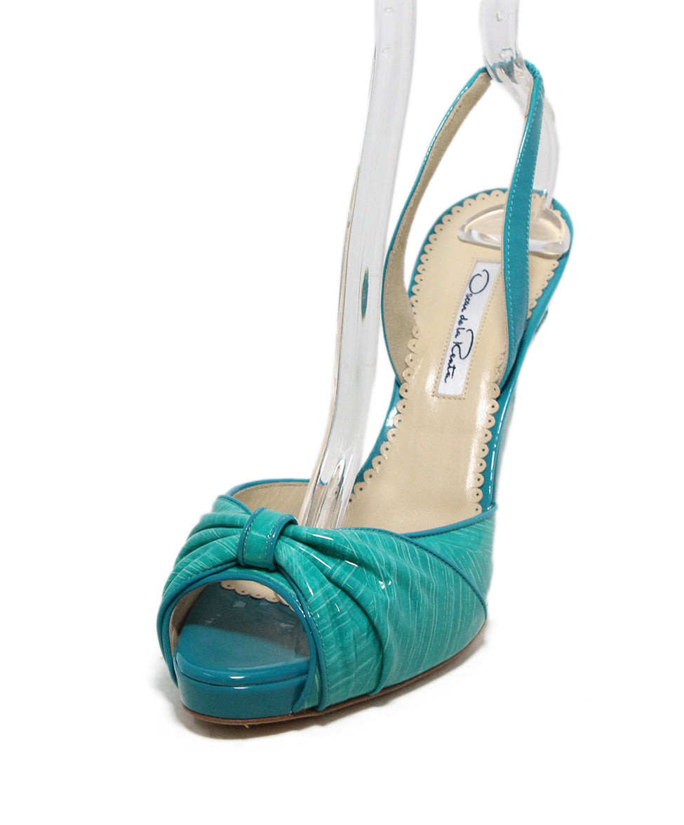 Oscar de la Renta green turquoise patent leather sandals 1