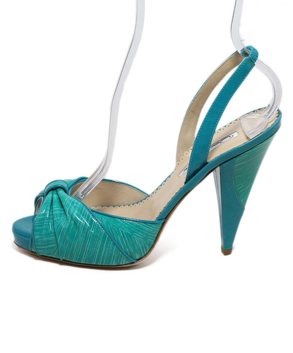 Oscar de la Renta green turquoise patent leather sandals 2