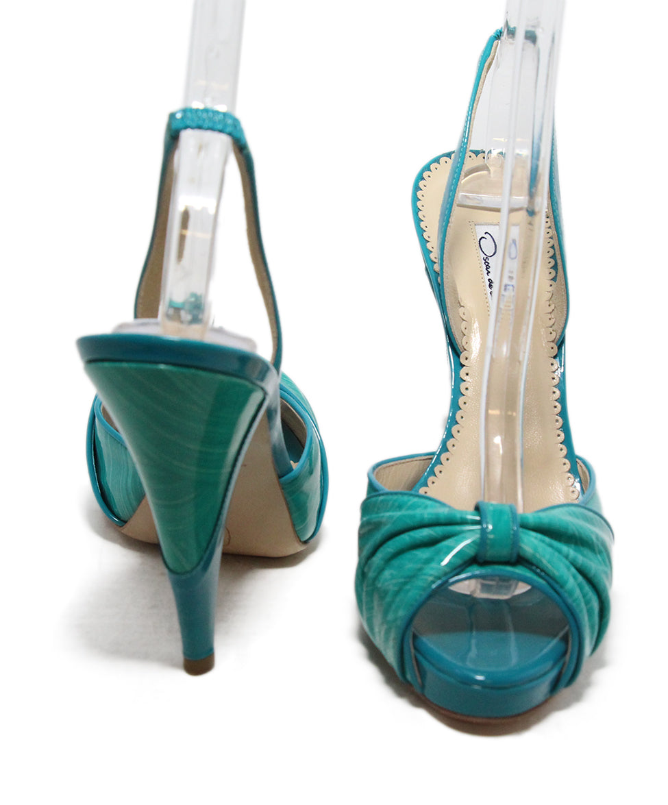 Oscar de la Renta green turquoise patent leather sandals 3