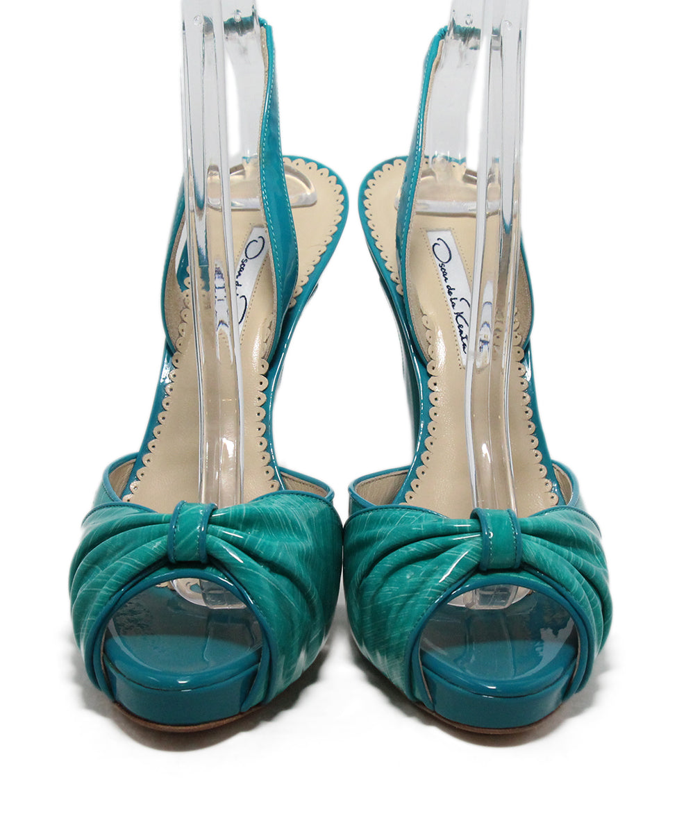 Oscar de la Renta green turquoise patent leather sandals 4