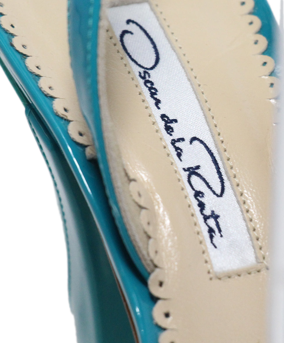 Oscar de la Renta green turquoise patent leather sandals 7