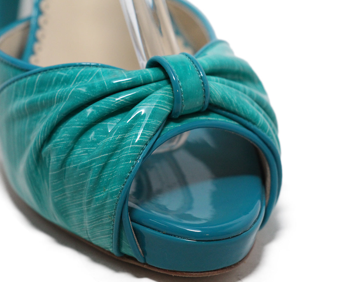 Oscar de la Renta green turquoise patent leather sandals 8