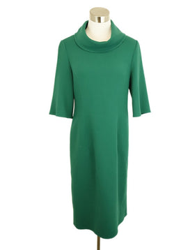 Oscar De La Renta Green Wool Dress 1