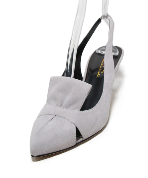 Oscar de la Renta grey suede sling backs 1