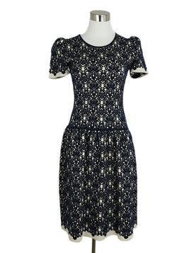 Oscar De La Renta Blue Navy Gold Wool Viscose Dress 3