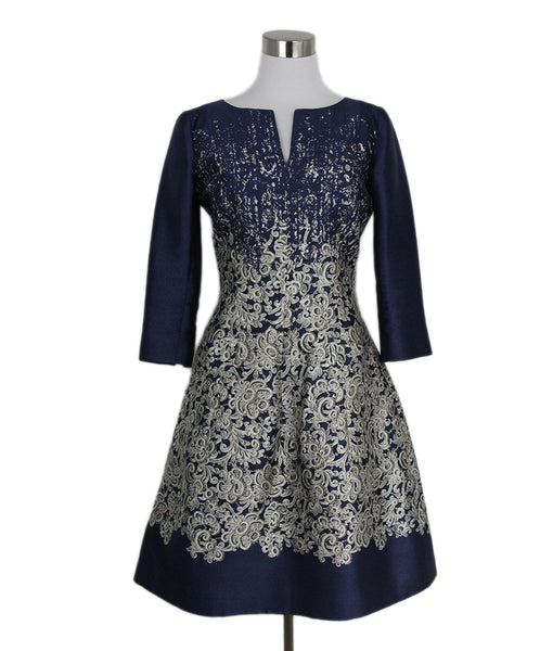Oscar De La Renta Navy White Print Silk Long sleeve Dress 1