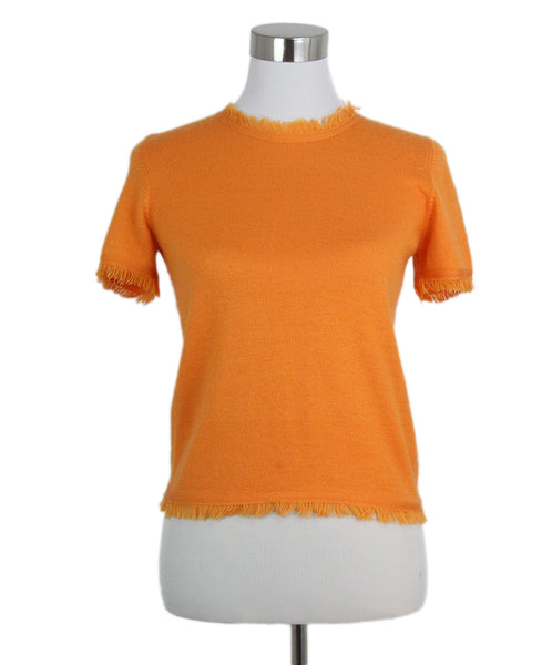 Oscar de la Renta orange cashmere silk top 1