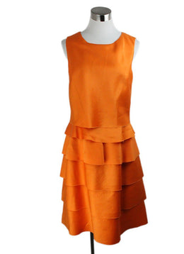 Oscar De La Renta Orange Wool Ruffle Dress 1