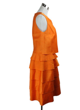 Oscar De La Renta Orange Wool Ruffle Dress 2