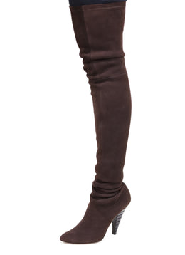 Oscar De La Renta Brown Suede Thigh High Boots Sz 9