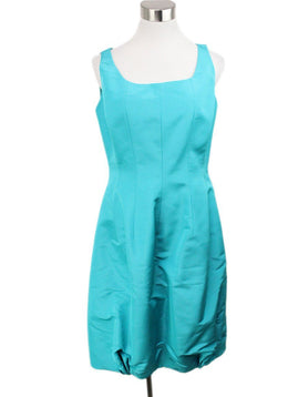 Evening Oscar De La Renta Green Teal Silk Dress 1
