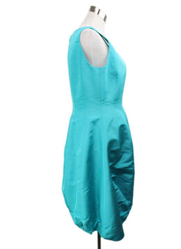 Evening Oscar De La Renta Green Teal Silk Dress 2