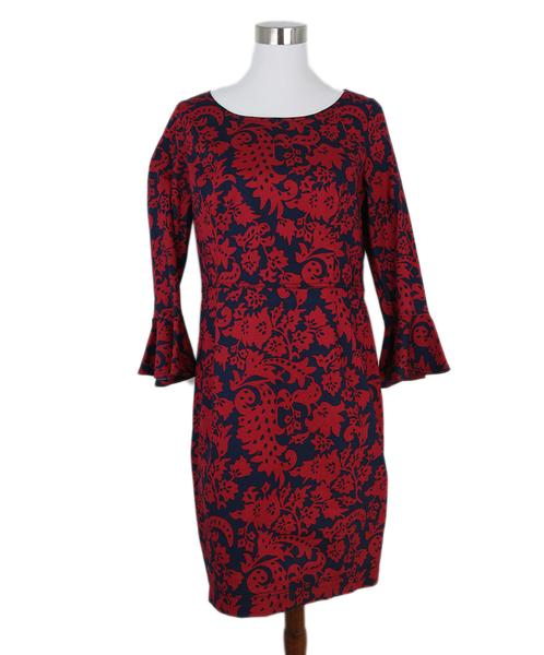 Oscar De La Renta Red Navy Cotton Bell Sleeve Dress Sz. 10