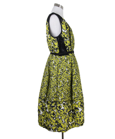 Oscar de la Renta yellow black print dress 1
