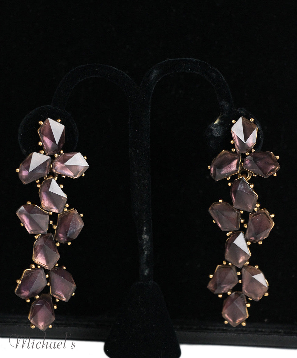 Oscar De La Renta Purple Stone Earrings - Michael's Consignment NYC  - 3