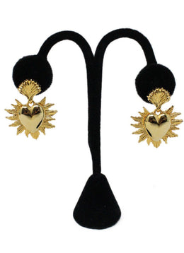Oscar De La Renta Metallic Gold Heart Earrings 1