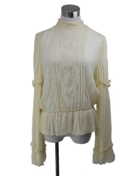 Oscar de la Renta Neutral Silk Lace Top 1