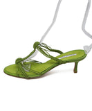 Oscar De La Renta Lime Braided Leather Heels 2