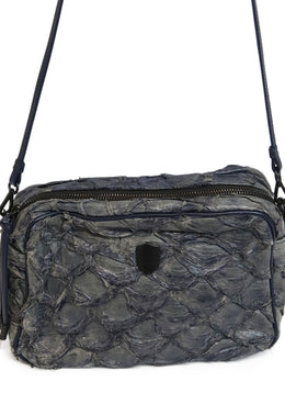 Osklen Rio Blue Grey Fish Leather Crossbody Bag 2