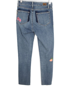 Paige Blue Denim Pants with Floral Applique 2