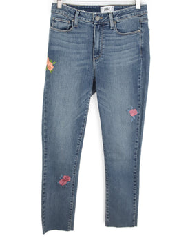 Paige Blue Denim Pants with Floral Applique 1